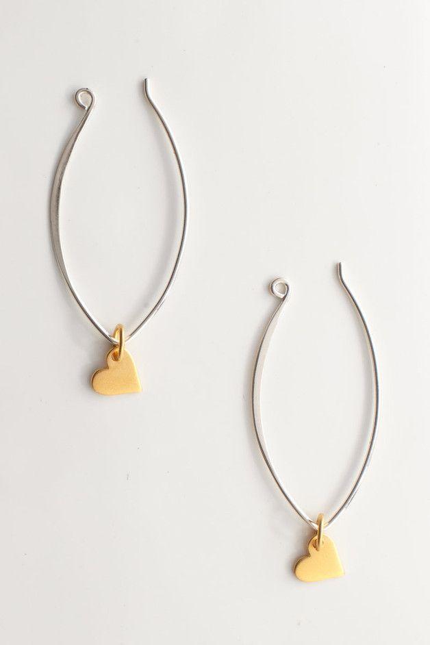 Hoop Earrings – 24K Gold Vermeil Mini Heart Marquis Earrings Hoop – a unique product by talulahlee on DaWanda