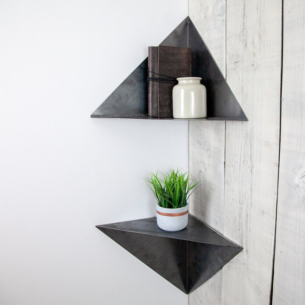Metal Floating Corner Shelf Floating Corner Shelves Geometric