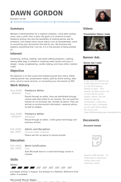 Freelance Writer Resume Example Freelance Writer Resume Sample Resume Resume Writer