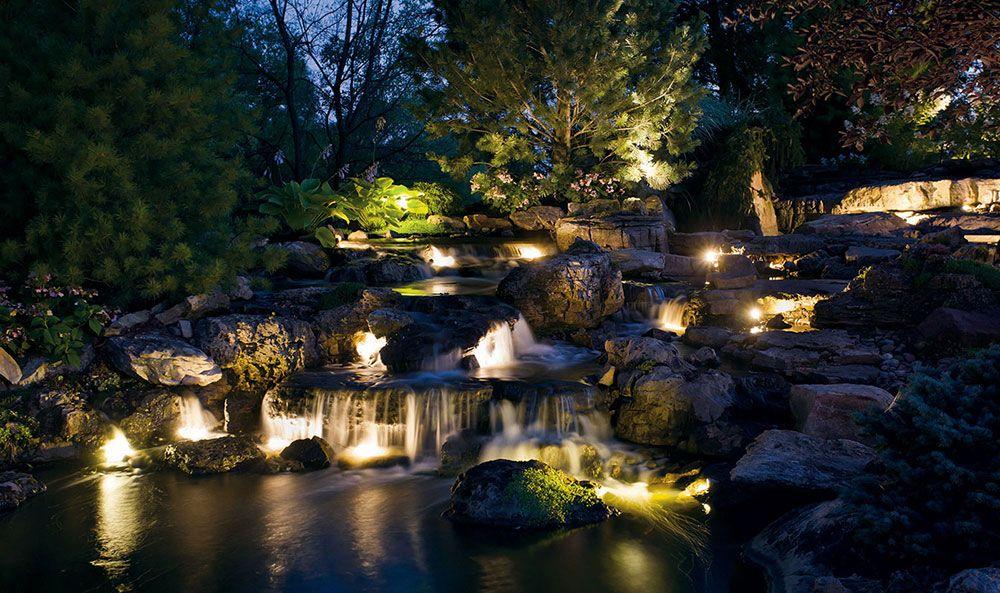 Kichler Landscape Night Rocky Waterfall Landscapelighting Kichlerstyle Outdoor Landscape Lighting Landscape Lighting Design Outdoor Landscaping