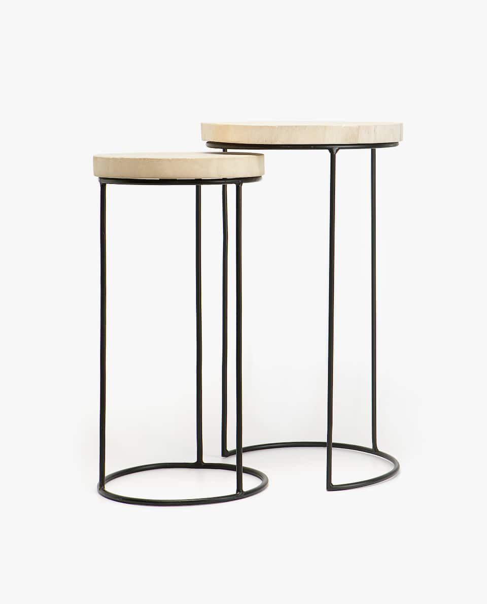 Table Gigogne Bois Structure Fer Lot De 2 Meubles Decoration Zara Home France Nesting Tables Indoor Furniture Furniture