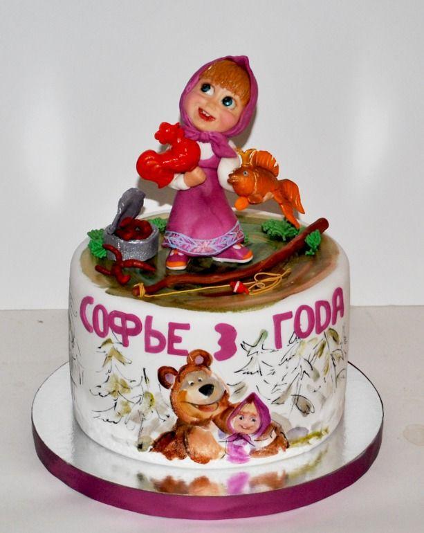 Фото детских тортиков с картинками маша и медведь