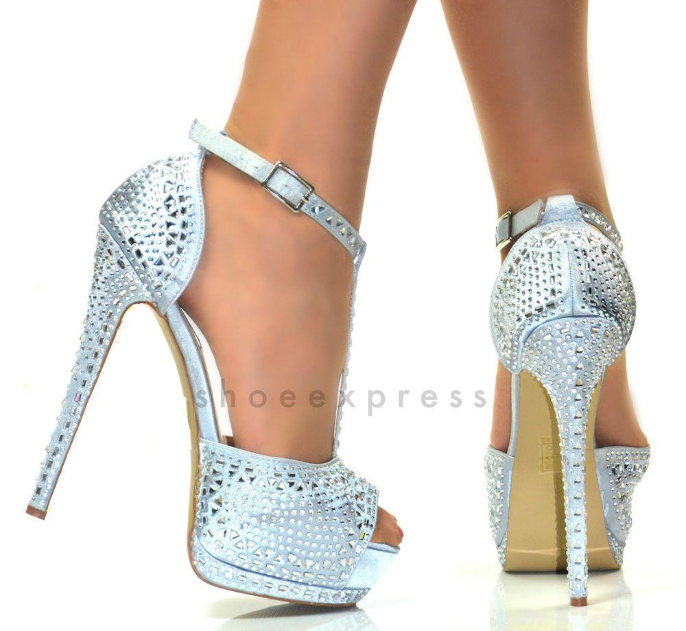 Satin High Heel Peep Toe Stiletto Sandals Ankle Strap Shoe size 7/40 DD silver