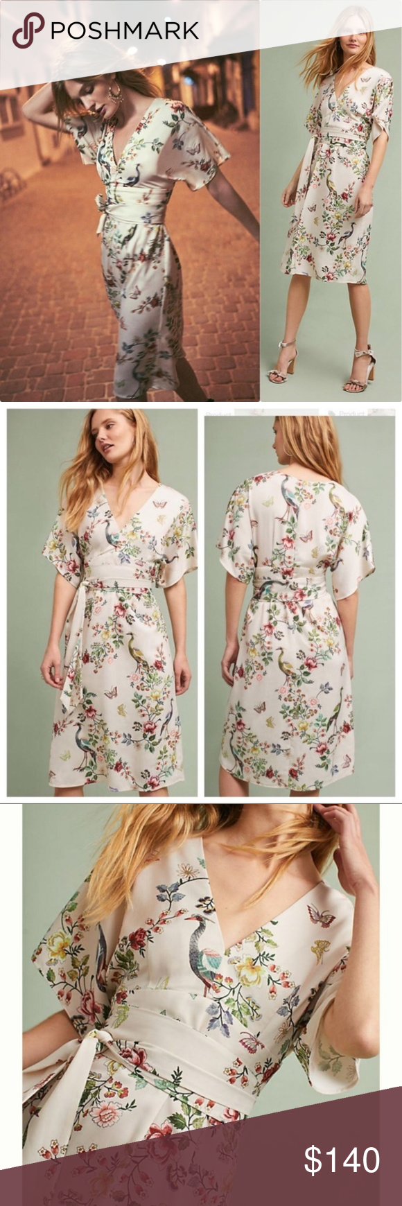 756c67722c53a ANTHROPOLOGIE Avian Kimono Midi Dress {Z31} This elegantly feminine midi  features a lovely floral