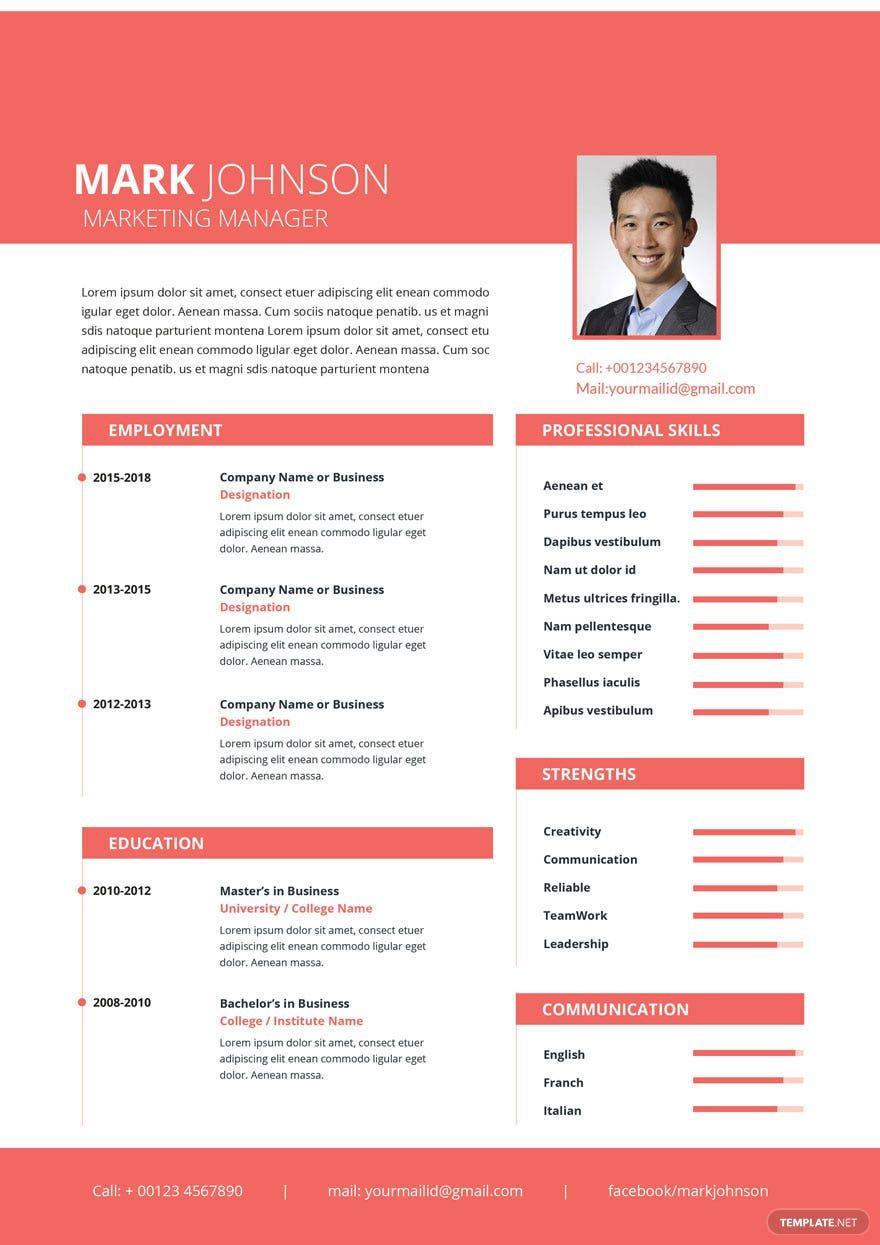 Free Marketing Manager Resume Cv Template Word Doc Psd Apple Mac Pages Publisher Cv Kreatif Creative Cv Template Desain Resume