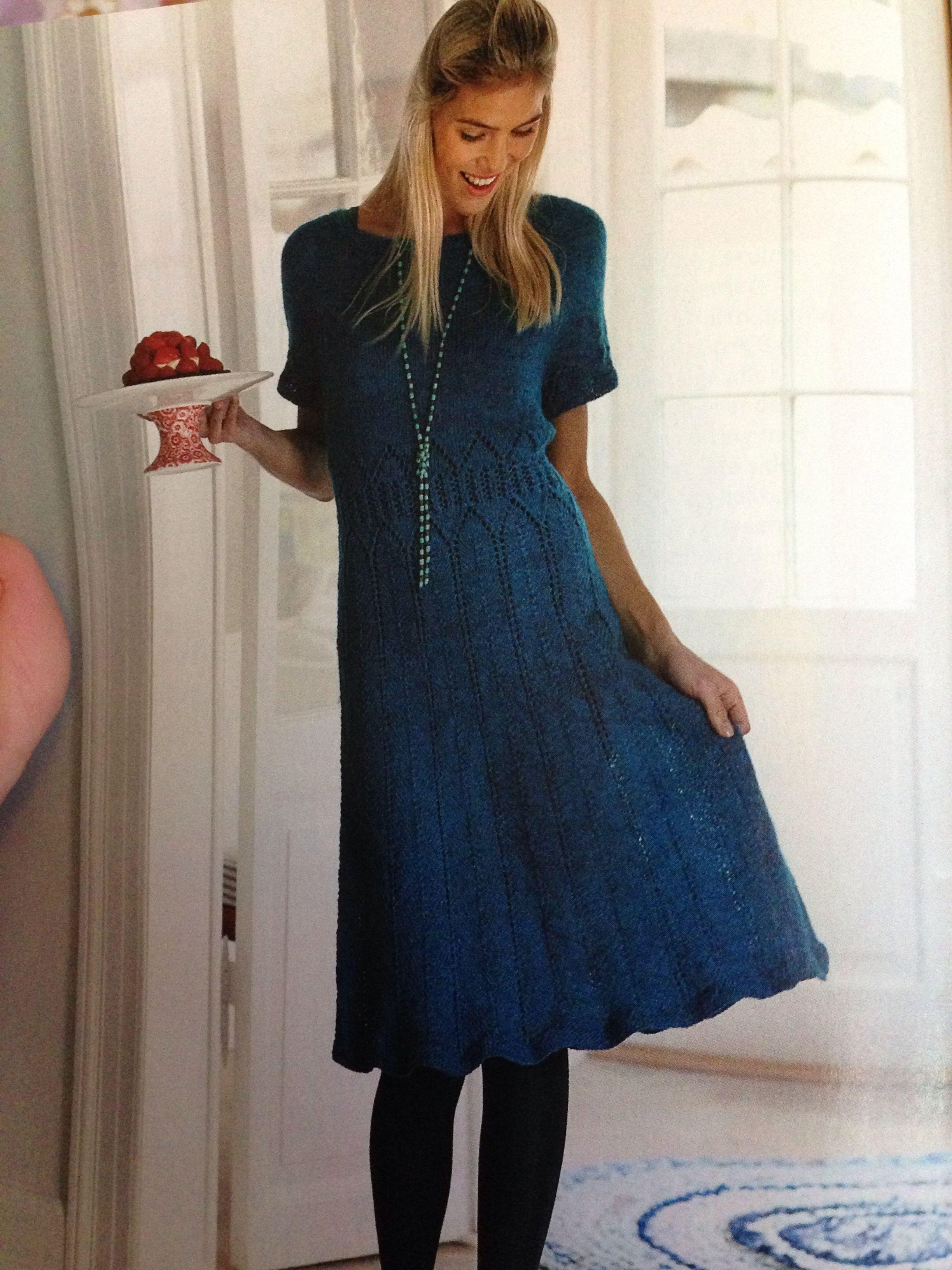 strikkeopskrift kjole voksen