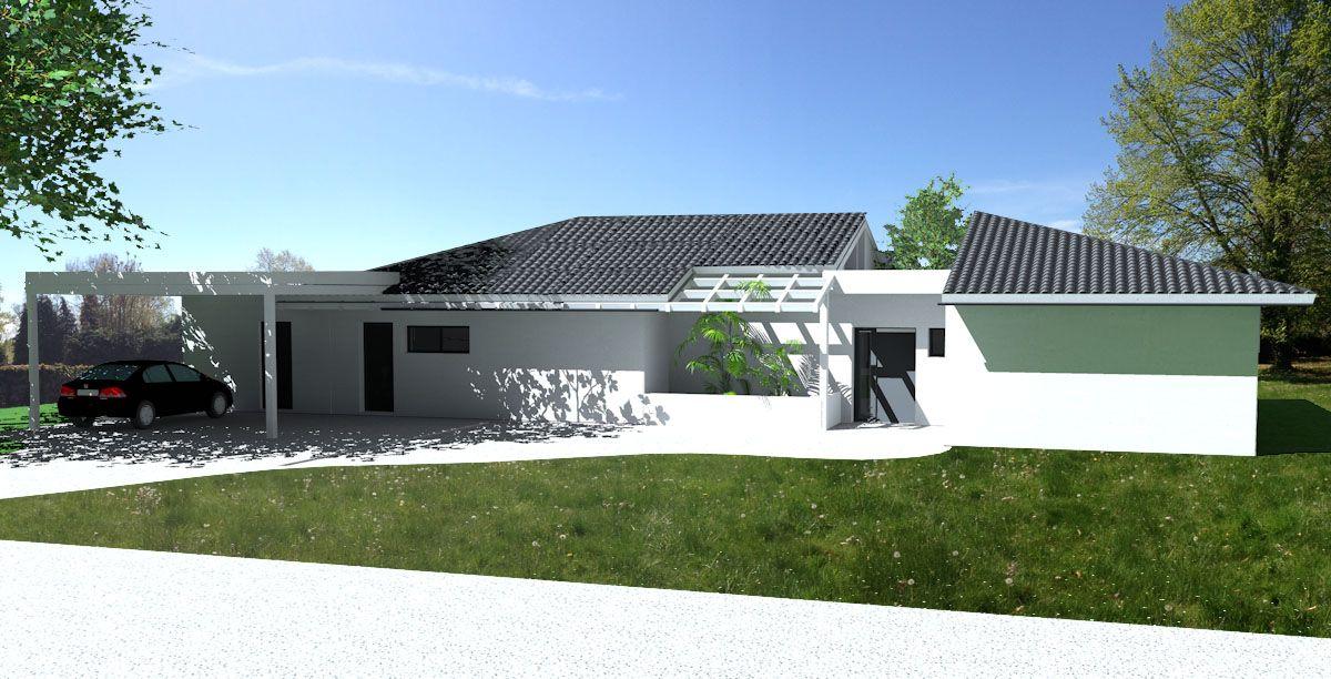 Maison contemporaine à toit en tuiles noires à côté de Tarbes