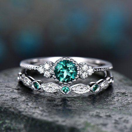 2pcs Sparkling 925 Solid Sterling Silver Natural Gemstone Ring Set – Walmart.com