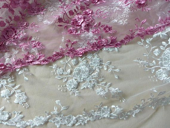 Double Layer Flowers Applique Fabric Gorgeous Embroidered Floral Tulle Lace Fabric Wedding Gowns Flower Applique Applique Fabric Lace Fabric