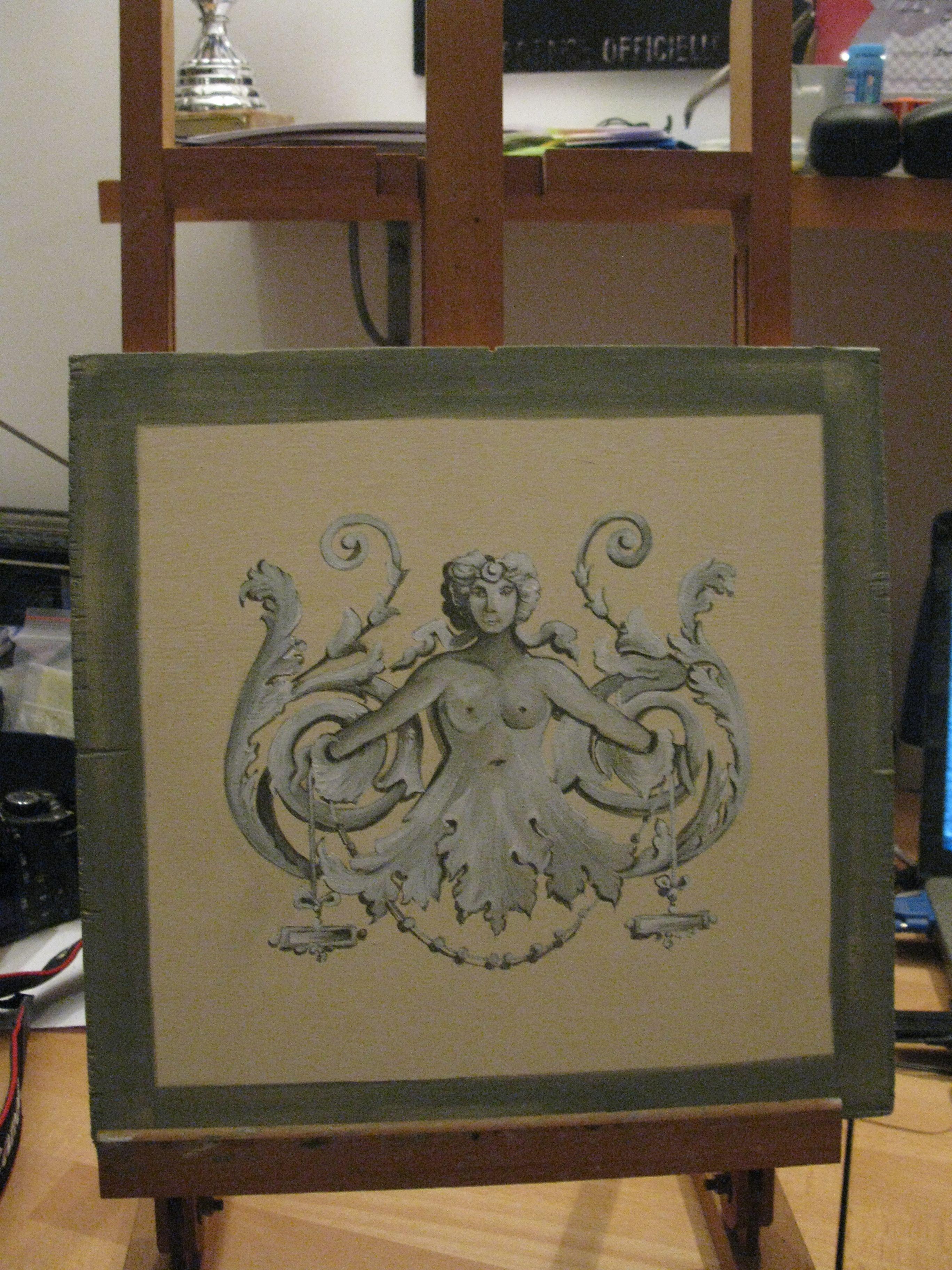 Un altro piccolo pannello, sempre decorato a grottesca. Questo è quasi finito, mancano alcuni dettagli!