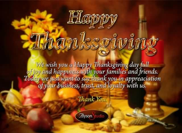 Happy thanksgiving we wish you a happy thanksgiving day full of joy happy thanksgiving wishes 2014 thanksgiving greetings messages sayings quotes reheart Images