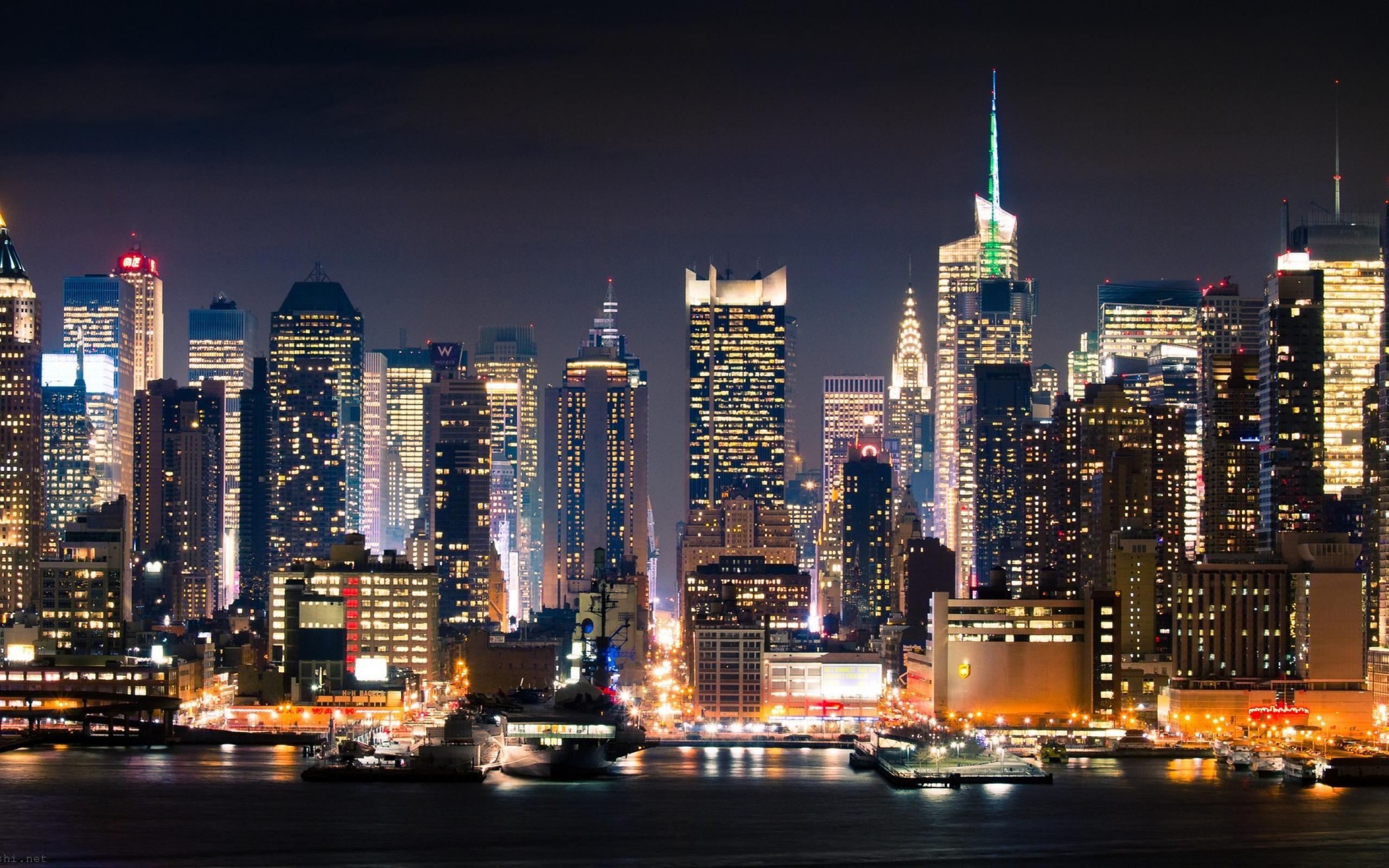 Обои new york, manhatten, ночь. Города foto 6