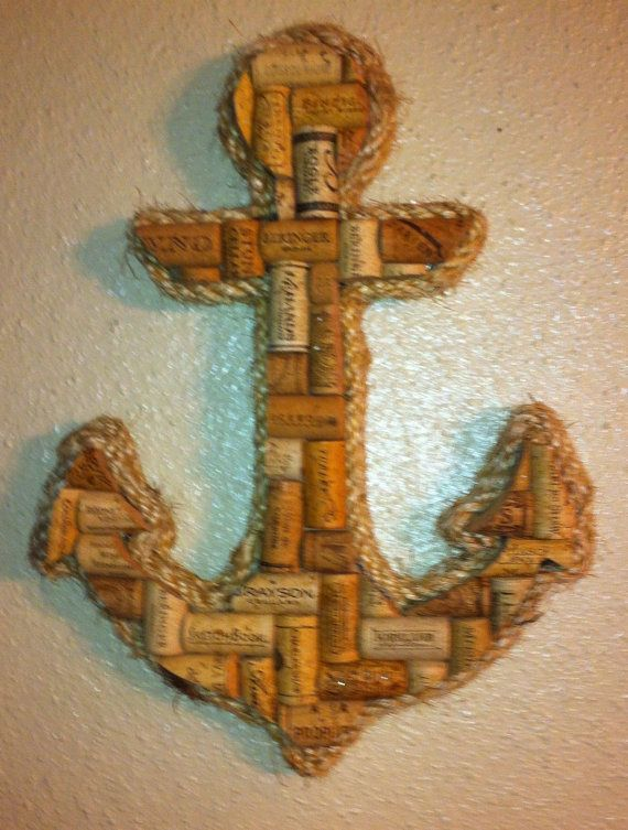 Wine Cork Wall Art anchor wall hanging made with real wine corks | anchor wall art
