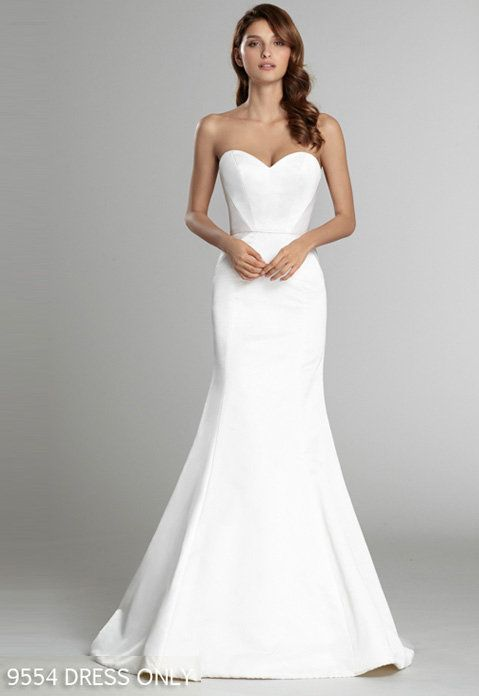 9f087232037 Style 9554 - White   Oyster silk faced duchess modified A-line bridal gown  with slimming contoured style lines. Shown with a detachable tulle and  English ...