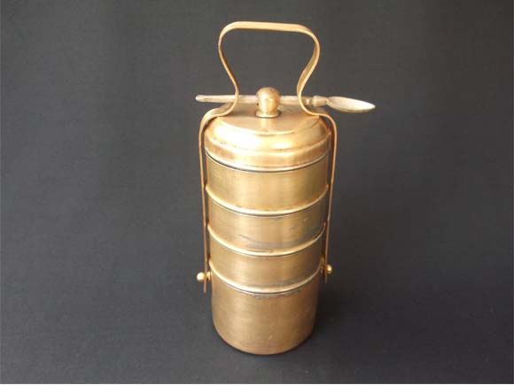 This Vintage Brass 5 Tier Tiffin Box Was Used By Me During