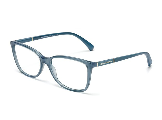 Womens light blue and gold eyeglasses with square frame ...