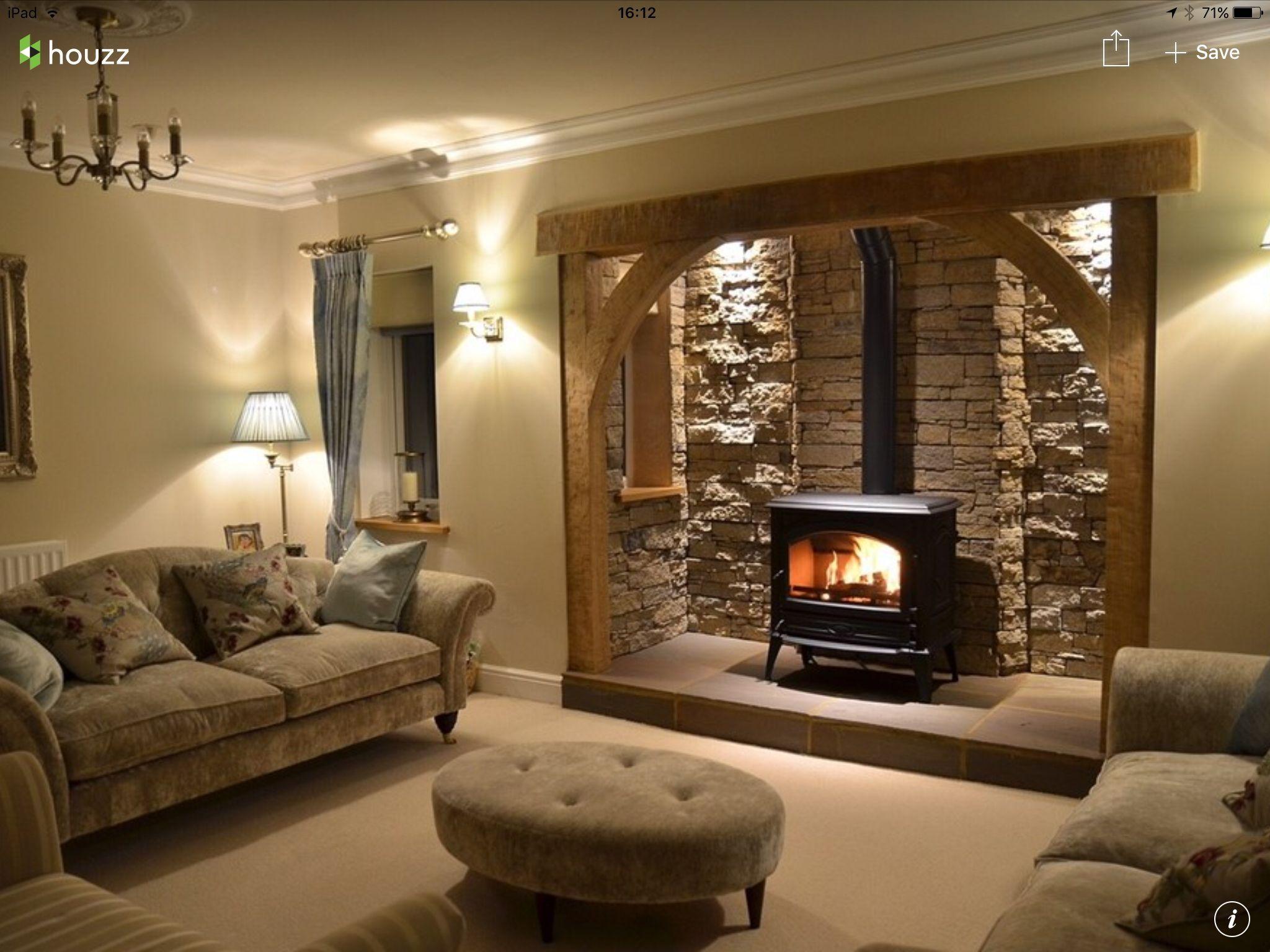 Nice fireplace | Log burner living room, Cottage living ...