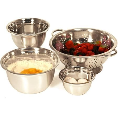 Heuck 4Piece Stainless Steel Mixing Bowl and Strainer Set