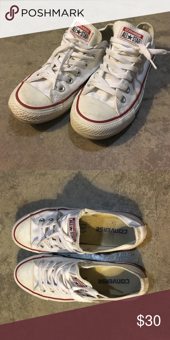 All white Converse Classic all white Converse. Would pair well with ripped jeans and a t-shirt! Have been worn a couple of times, but that gives them character! Converse Shoes Sneakers