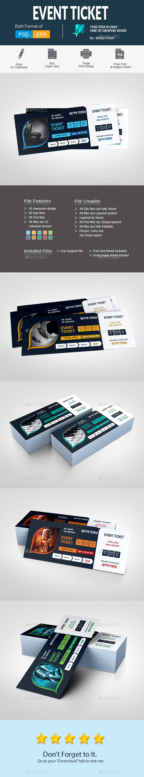 Event Ticket — Photoshop PSD #three color #conference • Download ...