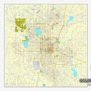 Oklahoma City Oklahoma US Printable Vector Street City Plan Map - Us map full names