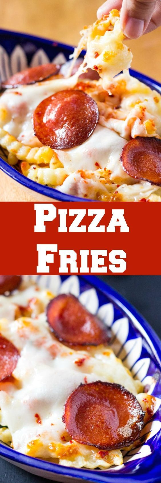 These pizza fries are loaded with pizza sauce, pepperoni