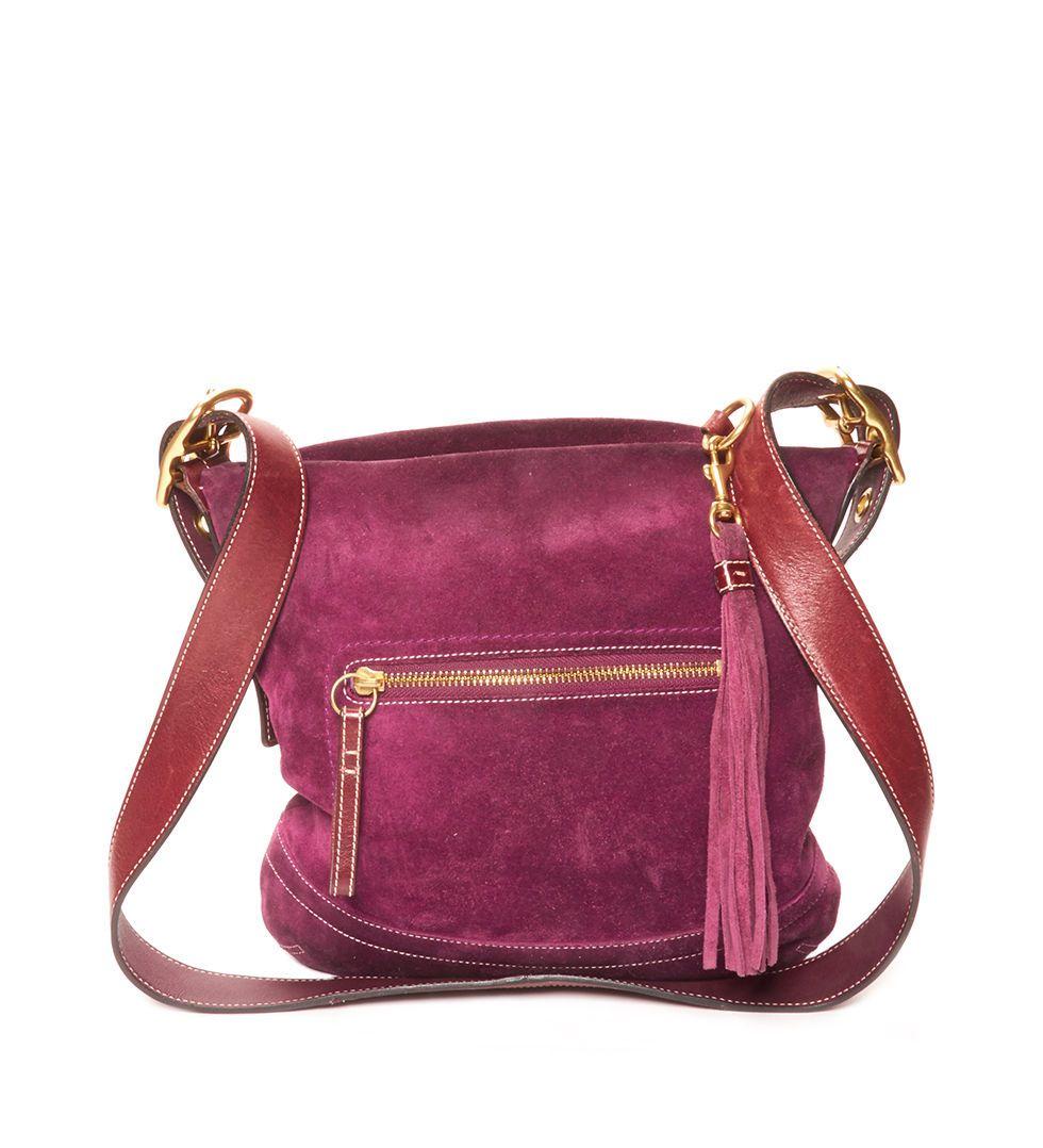 pink suede satchel
