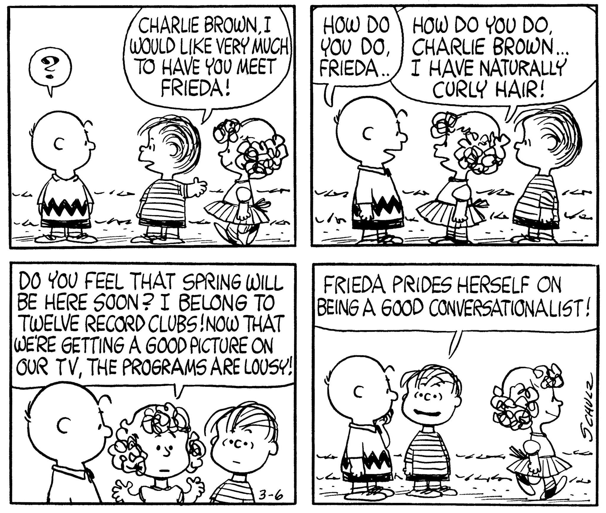 On March 6 1961 Schulz Introduced Frieda To The Peanuts Comic Strip A