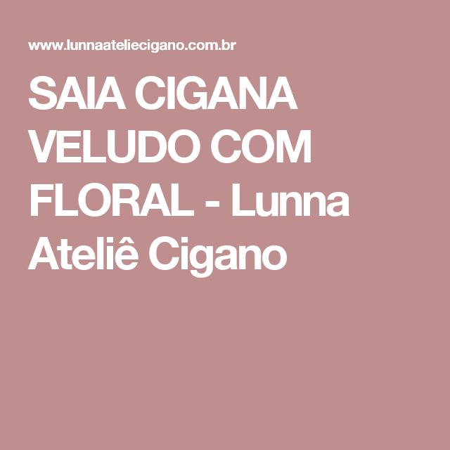 SAIA CIGANA VELUDO COM FLORAL - Lunna Ateliê Cigano