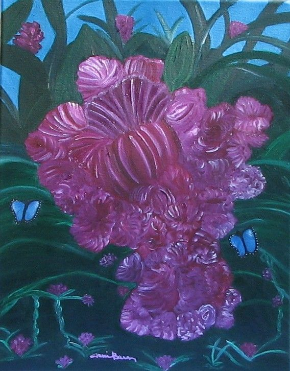 Tami Baron - Purple Blossoms and Butterflies - Oil on canvas 14 x 18