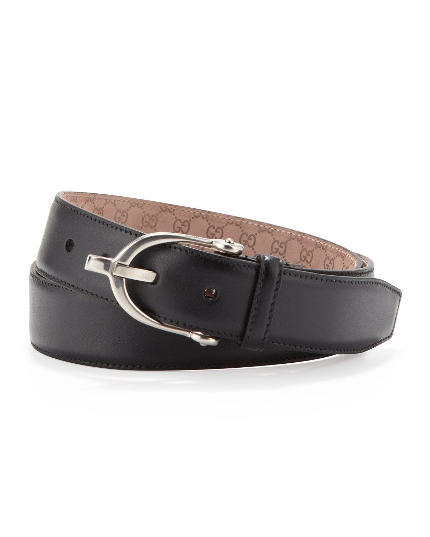 cb0865594 Stirrup-Buckle Leather Belt Black | *Clothing Accessories > Belts ...