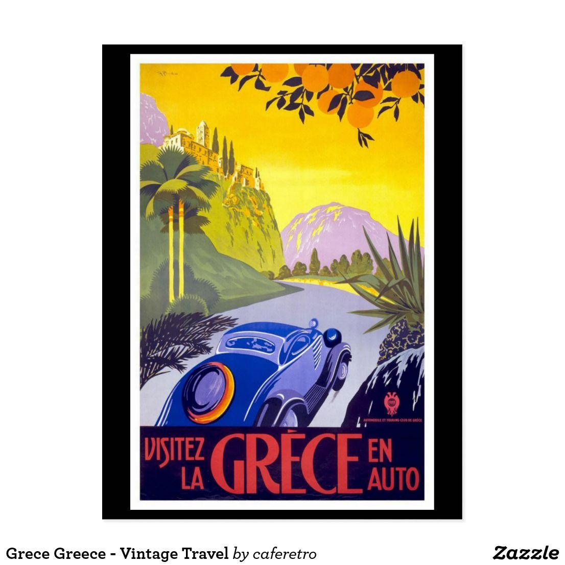 Vintage Greece Greek Sports Motor Car Travel Poster Art Re-Print A4