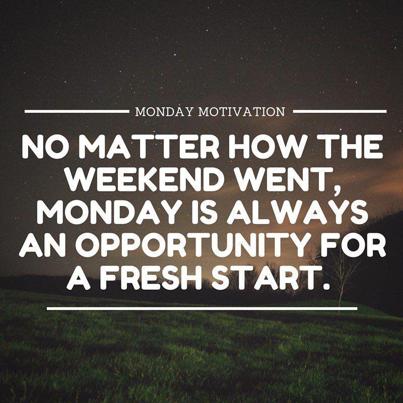 Start fresh!  It's a new week.  #mondaymotivation