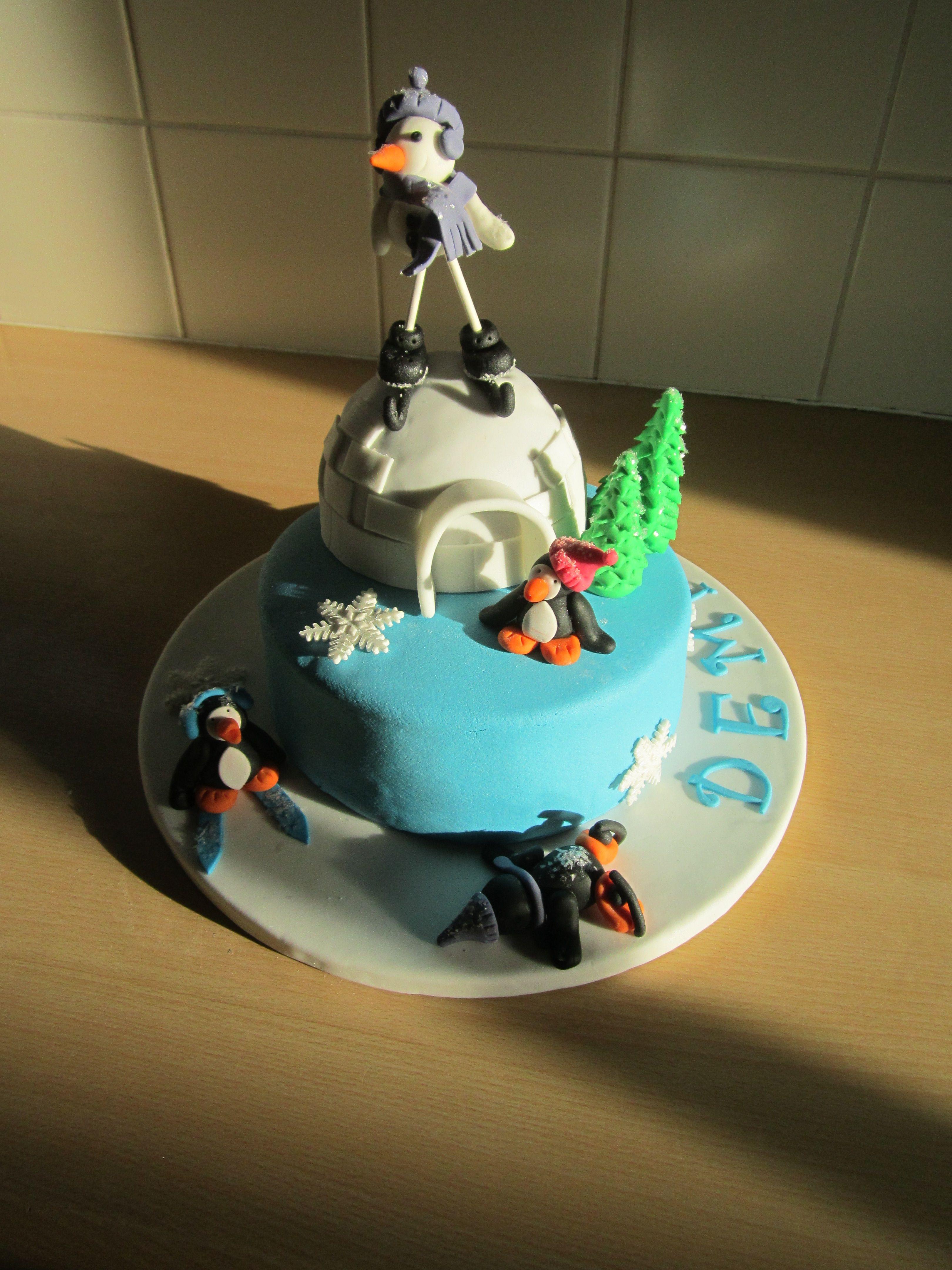 Verjaardags taart winter gemaakt door Petra Bonekamp