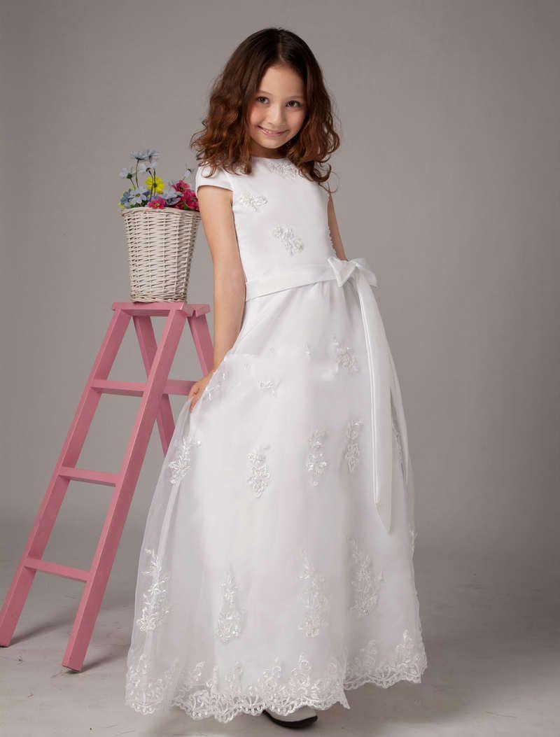 White bridal flower girl dresses with short sleeves cheap girl