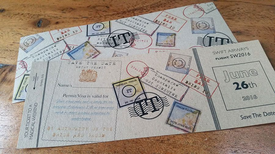 Vintage Travel Stamp Themed Boarding Pass Wedding Invitations