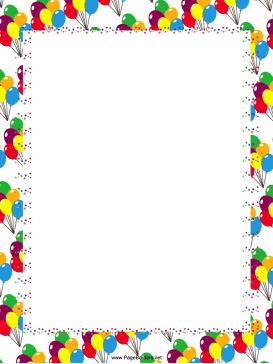 Festive Balloons Party Border Balloons Free Birthday Stuff Free Printable Stationery