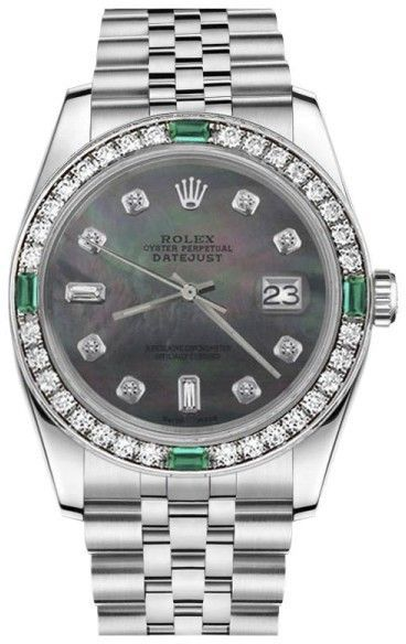 75cebdc06b3 Rolex Datejust Black Mother Of Pearl 8 + 2 Diamond Emerald Stainless Steel  Jubilee Womens 31mm Watch