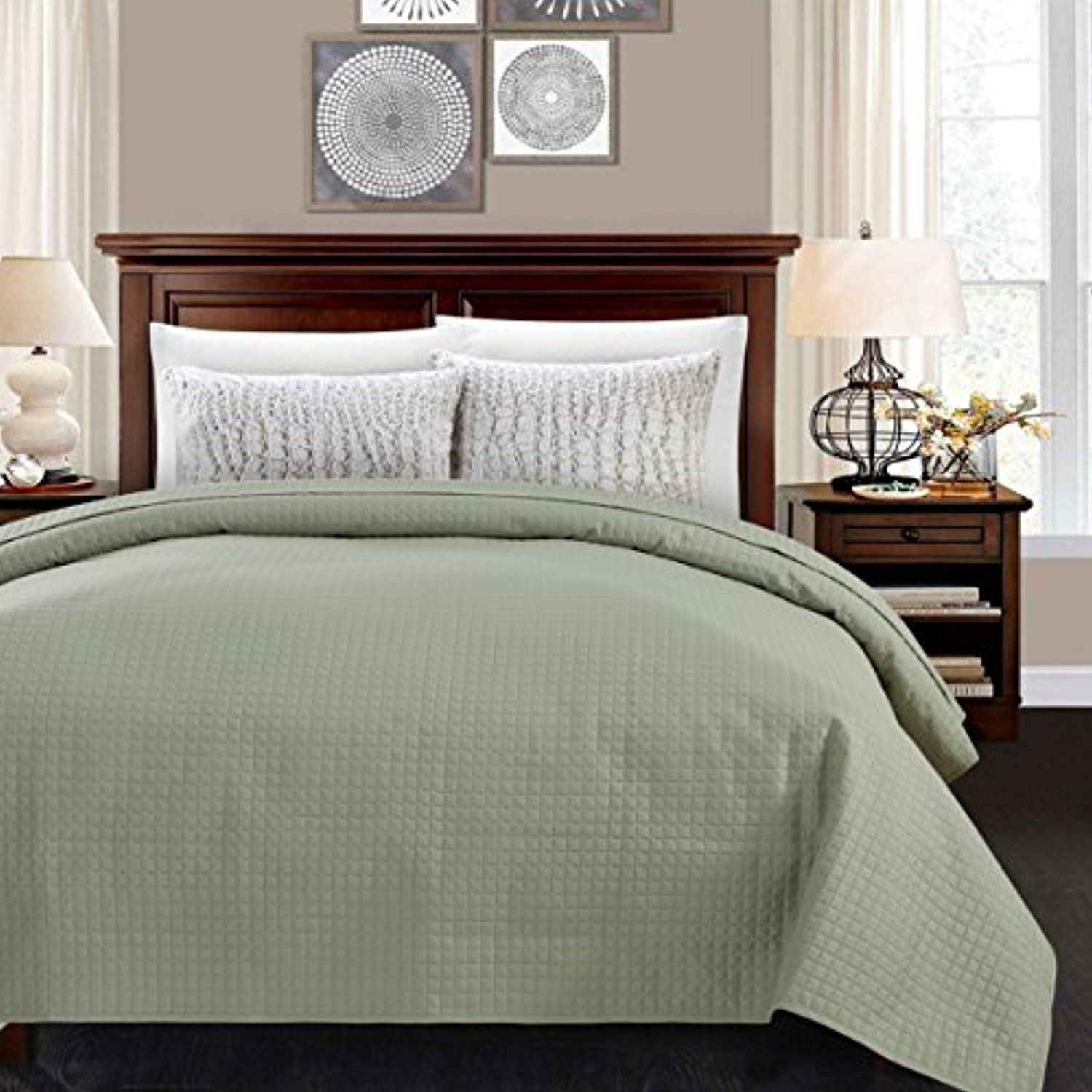 Alpha Home Quilted Bed Quilt Light Weight Luxury Checkered Pattern Bed Cover Bedspread Coverlet Sage Full Coverlet Bedding Lightweight Bedding Quilt Bedding