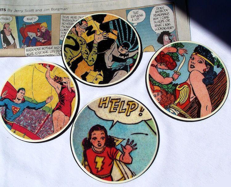 DIY comic book geek coasters