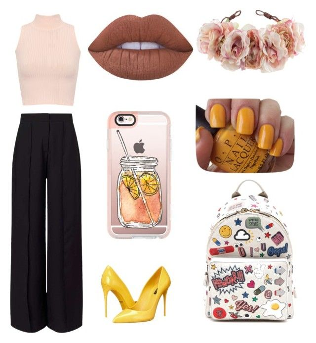 """""""Untitled #122"""" by ninaduricova ❤ liked on Polyvore featuring Miss Selfridge, Dolce&Gabbana, Casetify, WearAll, Anya Hindmarch, OPI, Lime Crime and Rock 'N Rose"""
