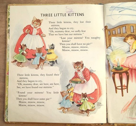 1950s Childrens Picture Book Vintage Nursery Rhymes The Golden