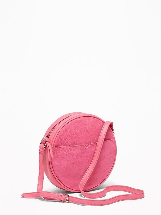 Faux-Suede Faux-Leather Crossbody Circle Bag for Women  crossbodybagsoldnavy 05a61543d3faf