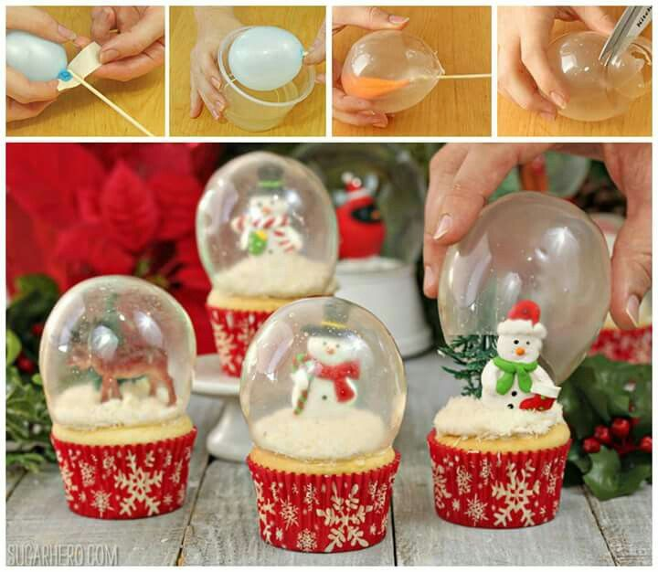 EDIBLE SNOW GLOBE CUPCAKES...made with Gelatin to make the Globes! This is such a cool idea from SugarHero & surprising how simple this is to make! http://www.sugarhero.com/snow-globe-cupcakes-gelatin-bubbles/