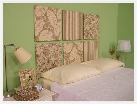 a3a363dfc1 Cabeceiras de cama feitas com telas para pintura (50 X 50) cobertas com  tecido