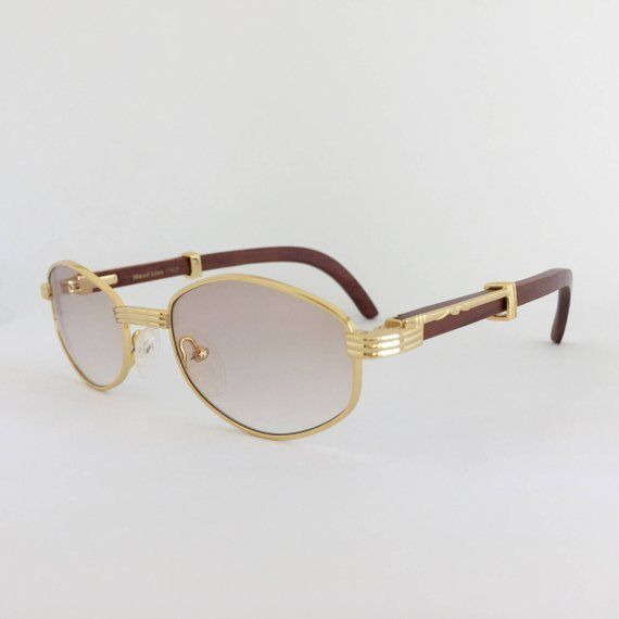 Cartier Style Wood Sunglasses Vintage Frames Gold And Wood Glasses Woodline Eyewear Gold Plated Frame Gradie In 2020 Sunglasses Vintage Wood Sunglasses Gold Sunglasses