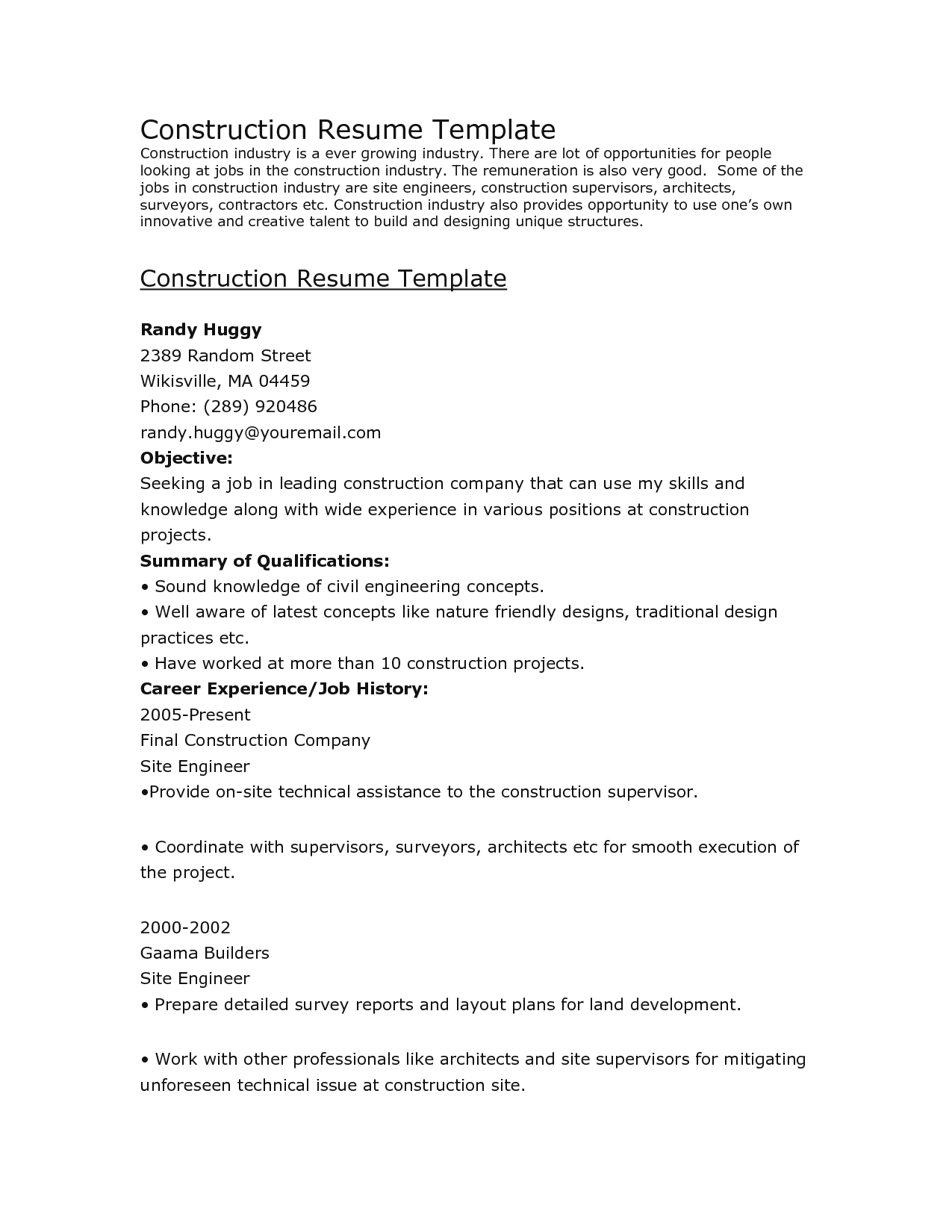Construction Resume Template  Cv Examples