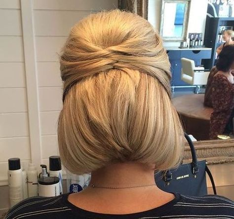 Half Up Hairstyle For Bob Length Short Hair Updo Short Hair Up Hair Styles