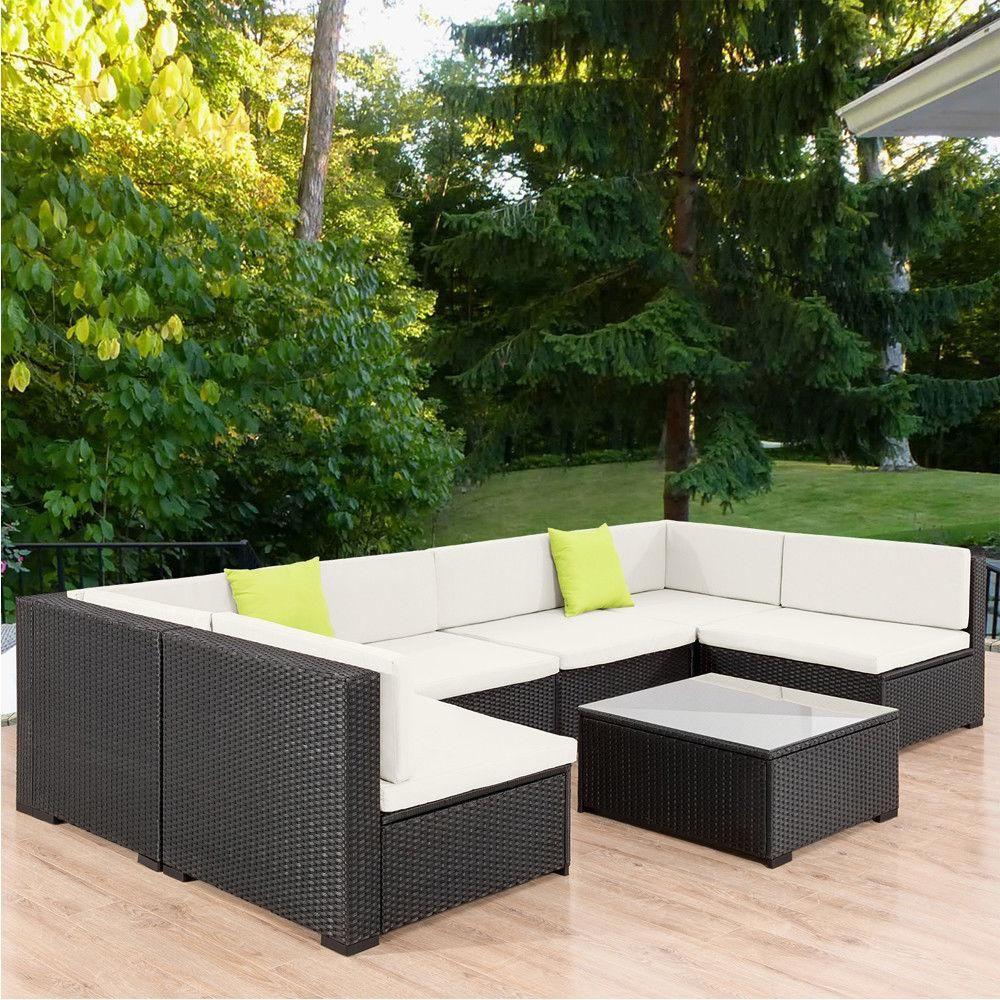 7PCS Outdoor Patio Sofa Set PE Wicker Rattan Sectional ...