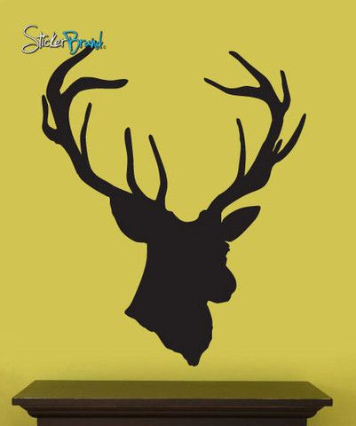 Vinyl Wall Decal Sticker Hanging Deer Head Silhoutte #201 | Nursery ...
